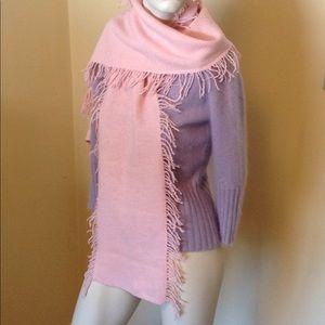 100% Merino Wool Scarf Pink Fringe